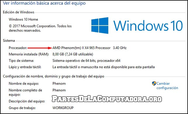 ver mi procesador por windows 7